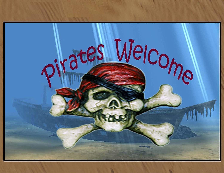 Pirates Welcome Medium 20 oz Loop Floor Mat