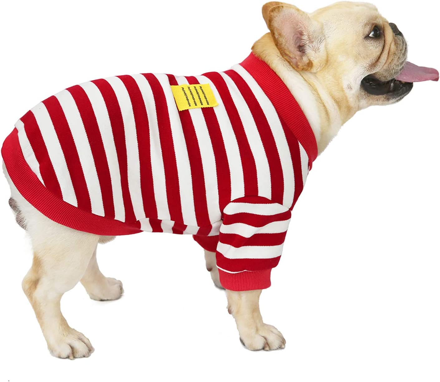 smalllee/_lucky/_store French Bulldog Clothes for Dogs Boy Girl Striped Sweatshirt Crewneck Jumper Sweater Winter Warm Jacket Coat Pet Puppy Apparel,Black and White,S