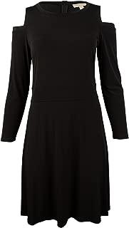 Michael Kors Tweed Haberdashery Print Georgette Off-The-Shoulder Dress