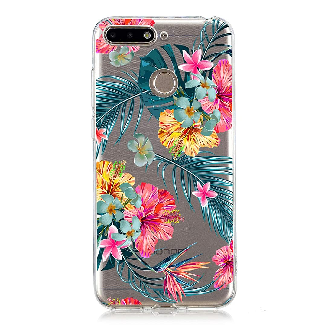 Huawei Honor 7A Case, Gift_Source Ultra Thin Shockproof Soft Silicone Clear Phone Case Floral Flower Design Anti-Scratch Protective Flexible TPU Bumper Cover for Huawei Honor 7A (5.7