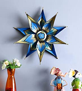 CraftVatika Star Flower Metal Wall Mounted Hanging Art Showpiece for Home Living Room Bedroom Décor, Blue