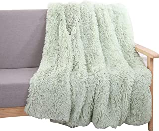 YOUSA Super Soft Shaggy Faux Fur Blanket Ultra Plush Decorative Throw Blanket 51''x63'' Mint Green