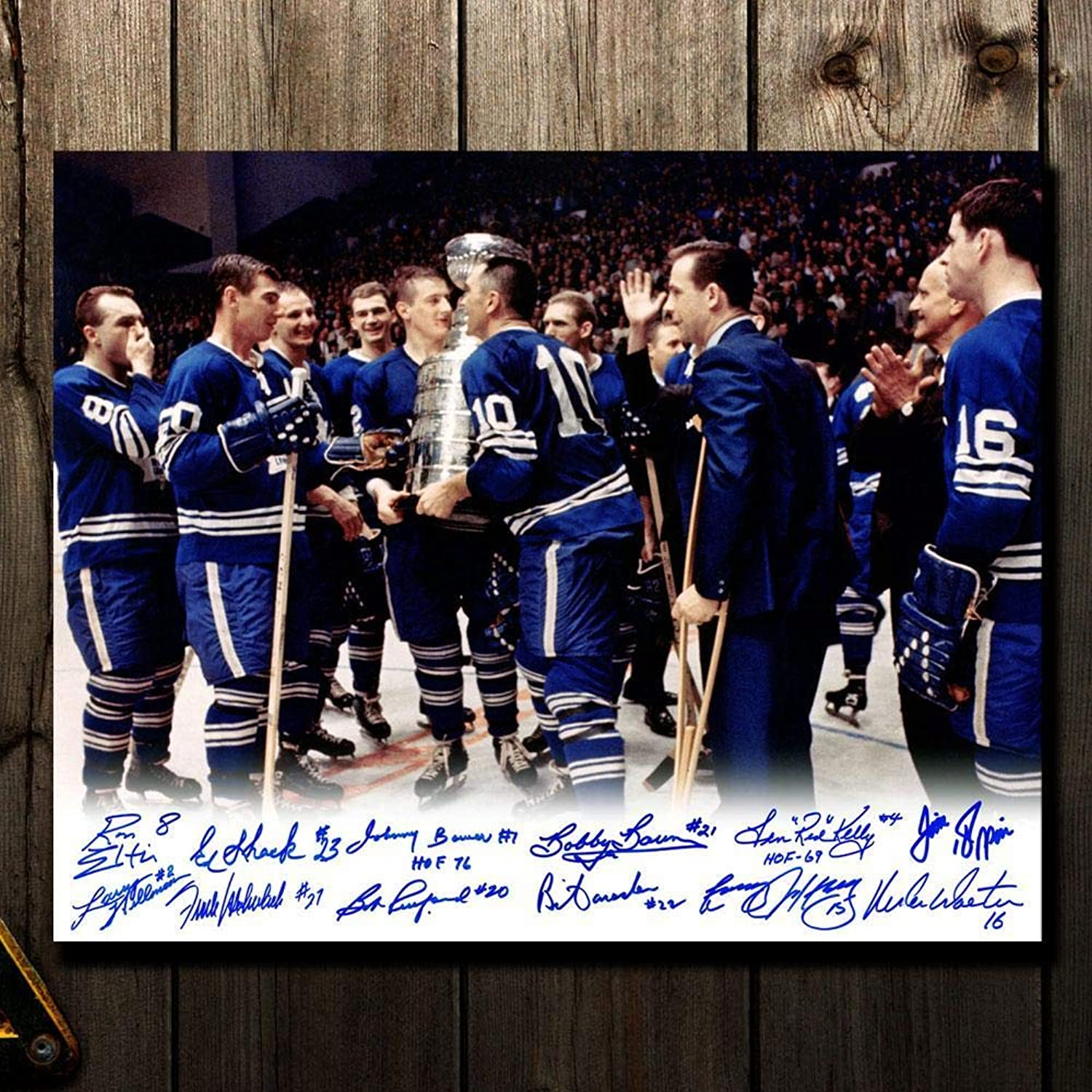 Tgoldnto Maple Leafs 1967 Stanley Cup Celebration Autographed 16x20 Signed by 12  Autographed NHL Photos