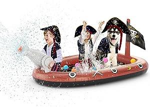 Jasonwell Inflatable Kiddie Pool Sprinkler - Splash Pad for Kids Toddler Pool Outside Children Pirate Ship Baby Pool Swimming Wading Pool Summer Outdoor Water Toys for Boys Girls Dogs Yard Garden