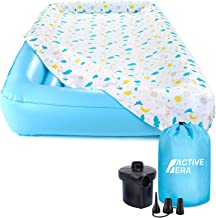 Active Era Kids Air Mattress - Portable Inflatable Travel Air Bed with Toddler Safety Bumpers, Soft Washable Fitted Sheet and Fast AC Pump (60 Second Inflation)