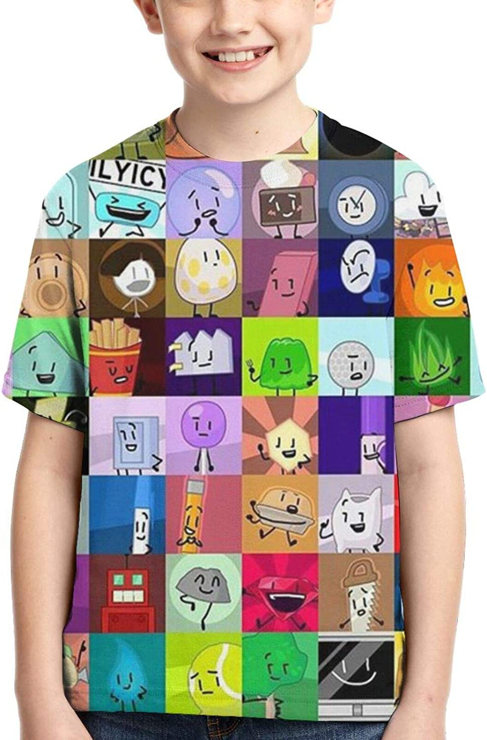 Battle-for-Bfdi Kids/Youth T-Shirt Soft Comfortable Casual Round Neck Short Sleeve Summer Tops for Girls Boys
