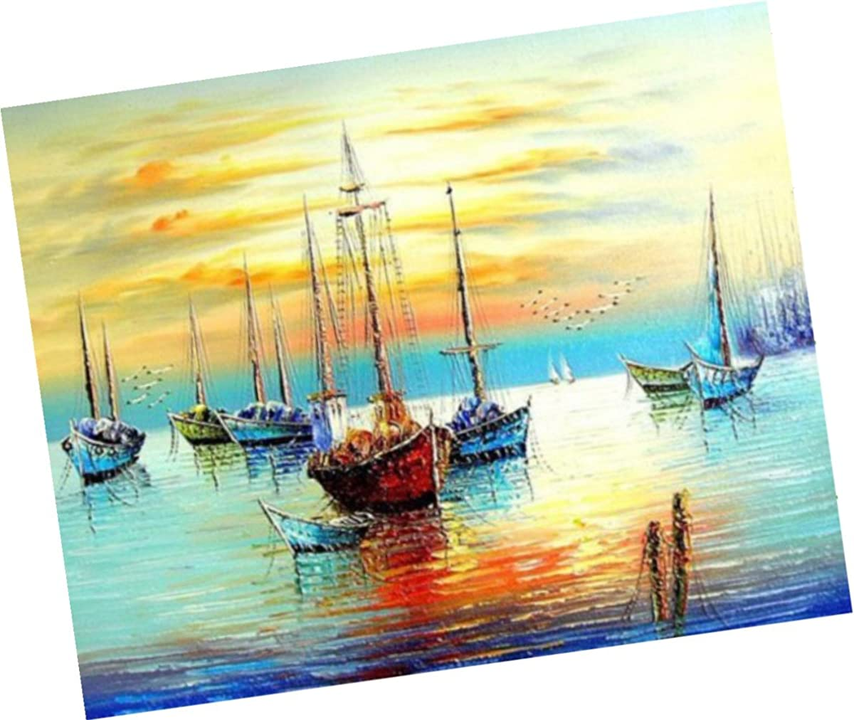 Wowdecor Paint by Numbers Kits for Adults Kids, Number Painting - Sunset Fishing Boat Sea Scenery 16x20 inch (framed)