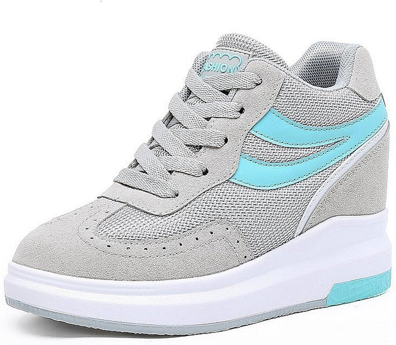 CYBLING Hidden Mid Heel Platform Wedge Sneaker for Women Casual Mid Top Walking shoes