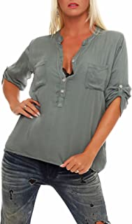 Malito Blusa con V-Neck Safari 3/4 Túnica Parte Superior Top Oversized 9015