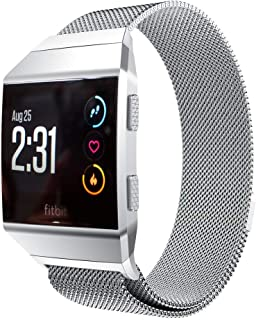 GOSETH Compatible with Fitbit Ionic Band,Mesh Stainless Steel Band Replacement Accessories Compatible with Fitbit Ionic Smartwatch(Silver/Small Size)