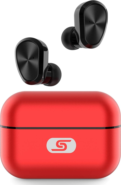 Bluetooth 5.0 Wireless Earbuds SZSAGO W5s True Wireless Headphones for iPhone/Samsung IPX7 Waterproof Wireless Earphones with USB C Metal Charging case for Home Office,Work (Red)