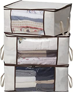 MISSLO Thick Oxford Clothing Organizer Storage Bags for Clothes, Blanket, Comforter, Closet, Medium, 3 Piece Set (Beige)