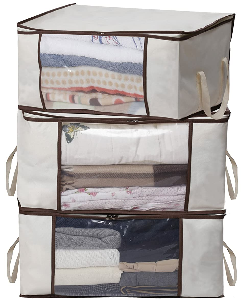 MISSLO Thick Oxford Clothing Organizer Storage Bags for Clothes, Blanket, Comforter, Closet, 3 Piece Set (Beige)