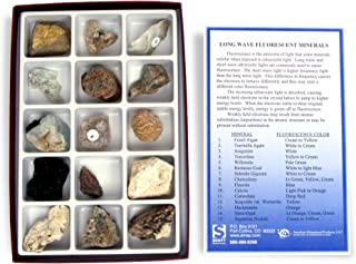 American Educational 2384  Fluorescent Minerals Long Wave Collection , 15 Piece