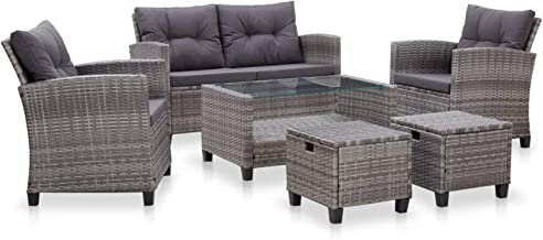 pedkit 6 Piece Garden Sofa Set with Cushions Outdoor Furniture Set Wicker Sectional Sofa Seat Backyard Patio Seating Poly ...