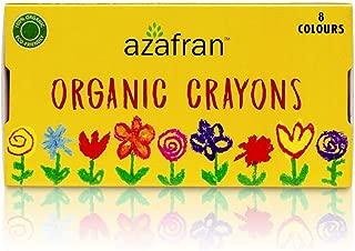 Azafran Organic Crayon 8 Colors Pack, 100% Vegan, Plant derived Ingredients, Non Greasy, Food Grade Colours (4.23 Oz)