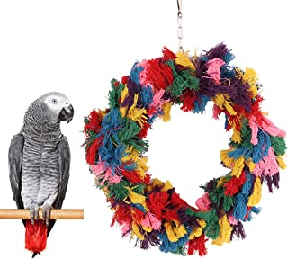 Bird Colorful Cotton Rope Hanging Ring Parrot Preening Grooming Chew Climb Biting Toy for African Grey Cockatoo Conure Parakeet