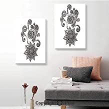 SfeatruRWF Canvas Wall Art Decor,Flowers and Paisley Doodle Tattoo Pattern Islam Culture Inspiration Monochrome Image Decorative,16
