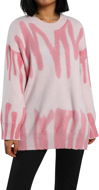 Women Tie Dye Oversized Knit Pullover Sweater Crewneck Long Sleeve Loose Sweatshirt Y2K E-Girls 90s Knitwear Jumper Top