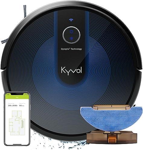 KYVOL 2 en 1 Aspirateur Robot Laveur avec Aspiration Puissante, Autonomie de 150min, Système de Lavage Adjustable, 60...
