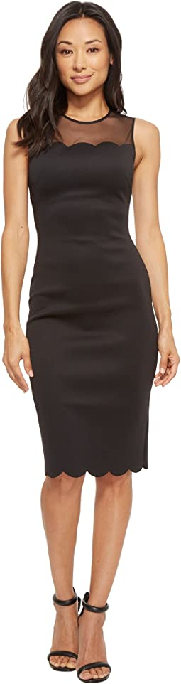 Clowva Scallop Mesh Overlay Bodycon Dress