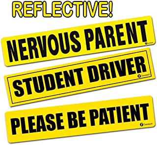 "Zone Tech Reflective Vehicle Bumper Magnet – 3-Pack 3"" x 12"" Premium Quality Reflective Nervous Parent + Please Be Patient + Student Driver Effective Bumper Decal Neon Yellow"