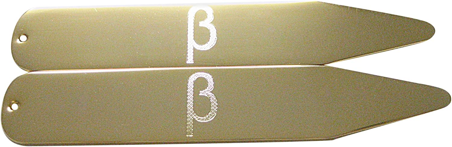 Gold Toned Etched Greek Letter Beta Collar Stays