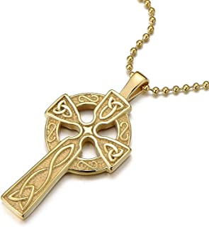COOLSTEELANDBEYOND Stainless Steel Mens Celtic Cross Pendant Necklace with 23.6 in Ball Chain