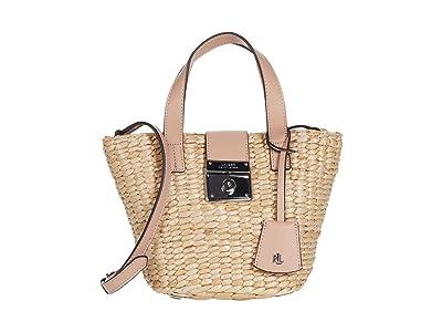 LAUREN Ralph Lauren Heritage Lock Structure Starw Reese 17 Tote Mini (Natural/Mellow Pink) Handbags