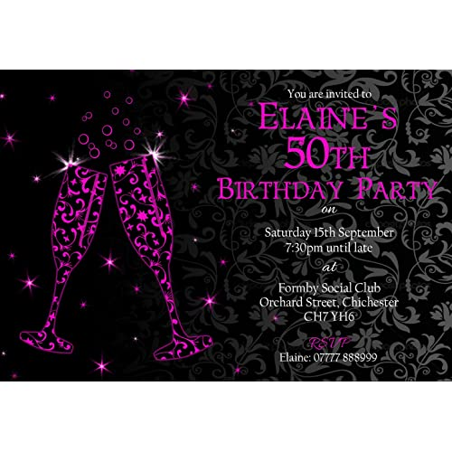 50th Personalised Birthday Party Invitations Envelopes