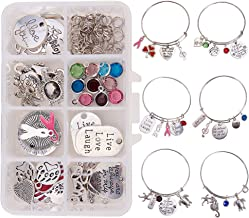 SUNNYCLUE 1 Box DIY 6PCS Expandable Wire Charm Bracelet Jewelry Making Starter Kit Include 2.6inch(65mm) Blank Adjustable Bangle, Mixed Charm Pendant Beads Jewelry Findings for Women Girls Adults