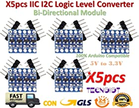 TECNOIOT 5pcs 4Channel IIC I2C Logic Level Converter Bi-Directional Module 5V to 3.3V  5pcs 4 Channel IIC I2 C Logic Niveles Converter Bi-Directional Module 5 V to 3.3 V
