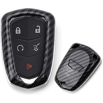 For Cadillac 2013-2019 Carbon Fiber Hard Smart Key Fob Case Holder Shell Cover