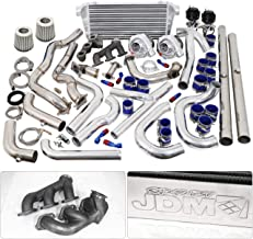 For Ford Mustang V6 3.8L Twin Turbo Charger Manifold Downpipe Intercooler Wastegate Oil Line Kit Air Filter Boost Controller Upgrade Blue Black Set