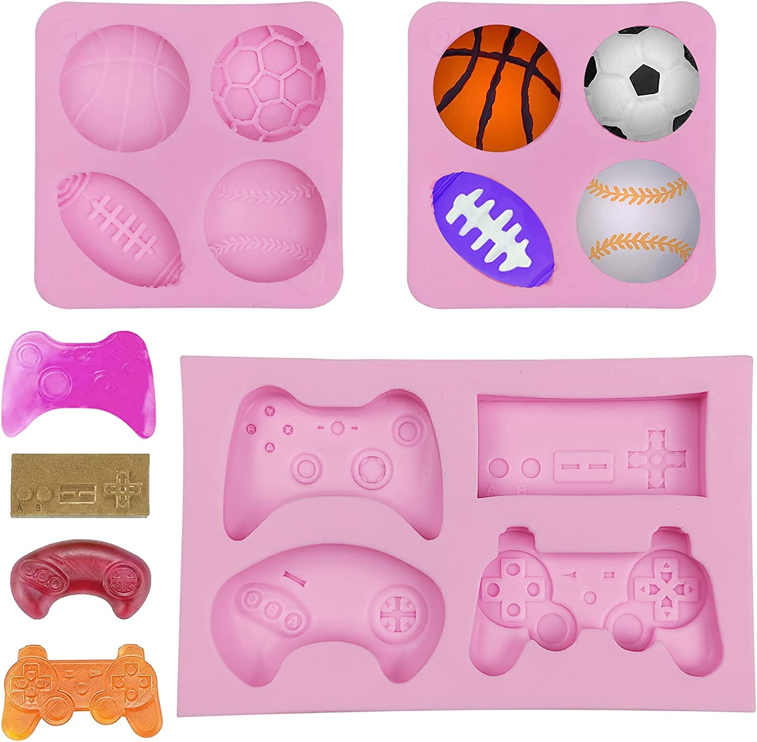3 Under blast sales Pack Chocolate Fondant Molds Sales of SALE items from new works Game Controller Mold S Cake Ball