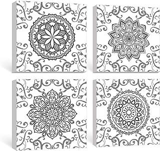 SUMGAR Mandala Arte de la Pared Pinturas en Blanco y Negro Flores Grises Cuadros Estampados Florales Grises Decoraciones Bohemias Indias Dormitorio Baño Sala de Estar Conjunto de 4, 30x30 cm