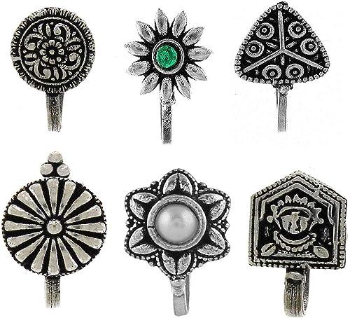 Anuradha Art Silver Oxidised Nose Pin for Women