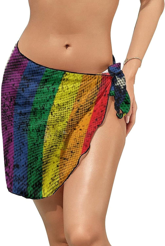 Women Beach Wrap Skirts American LGBT Pride Rainbow Flag Personalized Bikini Swimwear Beach Cover Up