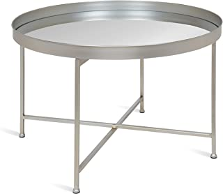 Kate and Laurel Celia Metal Foldable Round Accent Coffee Table, 28.25