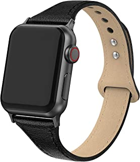 Bandiction Leather Band Compatible with Apple Watch Band 38mm 40mm, Genuine Leather Slim Strap for iWatch Apple Watch Series 4 Series 3 Series 2 Series 1, Sports & Edition Women Men (Black)