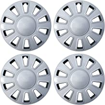 Hubcaps 17 inch Wheel Covers - (Set of 4) Hub Caps for 17in Wheels Rim Cover - Car Accessories Silver Hubcap Best for 17inch Cars Standard Steel Rims - Snap On Auto Tire Replacement Exterior Cap