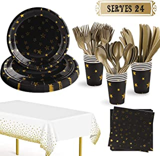 169Pcs Black and Gold Party Supplies Disposable Party Dinnerware Set Kit Serves 24 Includes Paper Plates, Cups, Napkins, T...