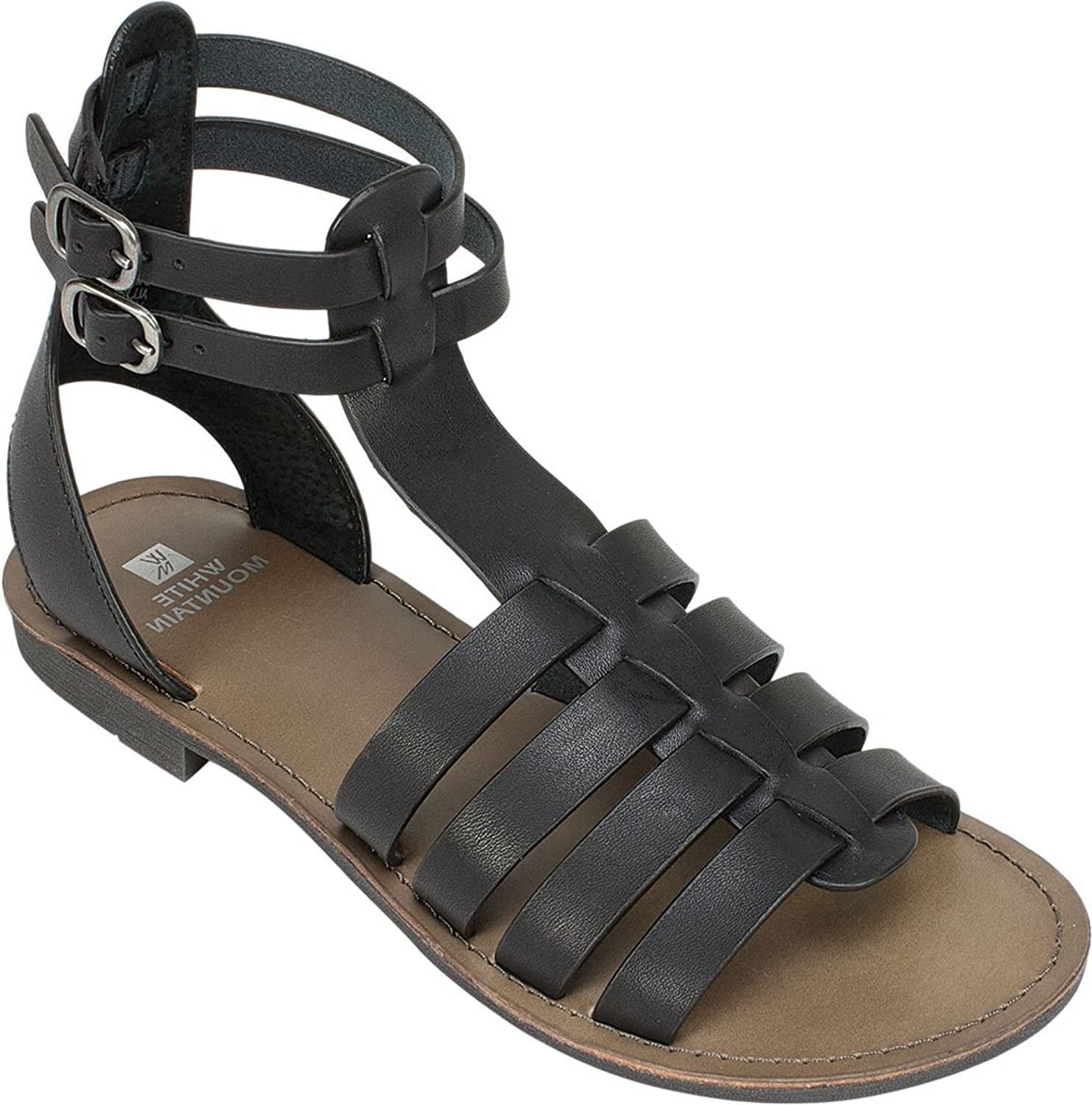 White Mountain Womens Carson Leather Open Toe Casual Gladiator, Black, Size 7.0