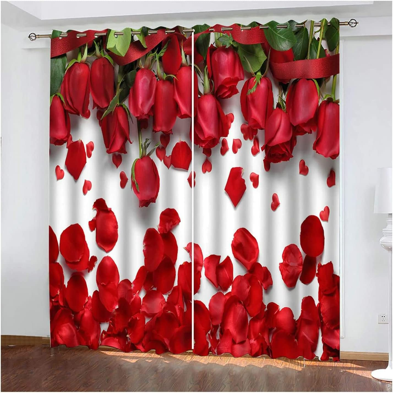 online shop Room Darkening Grommet Blackout Curtains Rose Flowe Department store for Bedroom