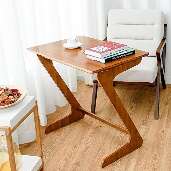 KOVALENTHOR Z Shaped End Table Sofa Table Z Style Table Laptop Desk Side Side Snack Table Coffee Table