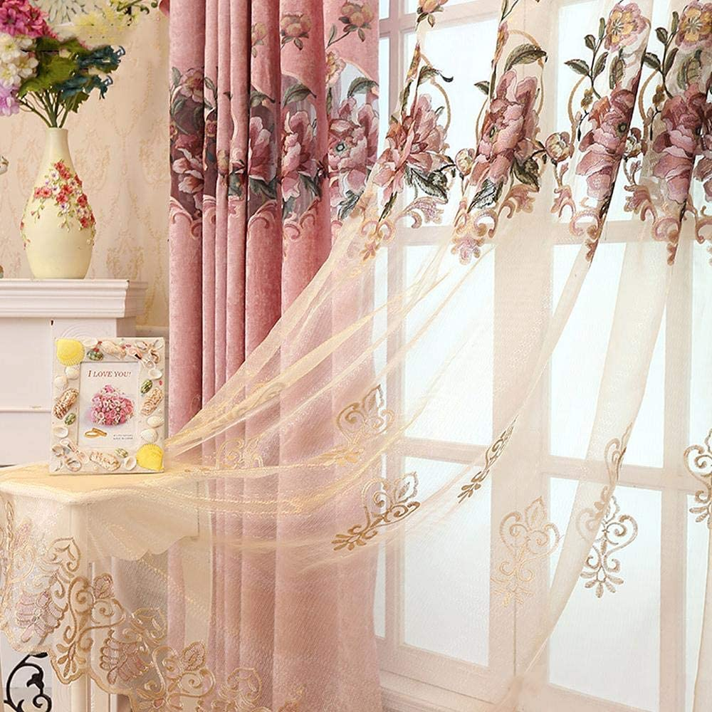 Gxi Pink Floral Sheer Ranking TOP6 Curtain 102 Quality inspection inch Living Room Length Em for