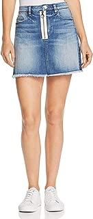 Womens Frayed Colorblock Denim Skirt