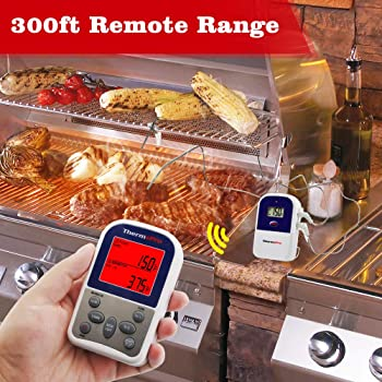 ThermoPro TP12 Wireless Digital Meat Thermometer for Grilling Oven Smoker BBQ Grill Thermometer with Dual Probe, 300 ...