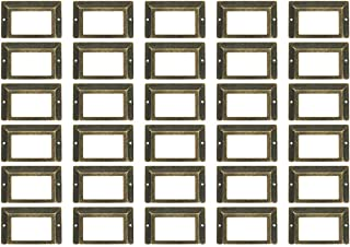 WEICHUAN 30 Pieces 80mm50mm Card Holder Drawer Pull/Label Frames Card/Label Holder/Tag Pull/Cabinet Frame Handle/File Name Card Holder - Metal Art Bronze Tone with screws