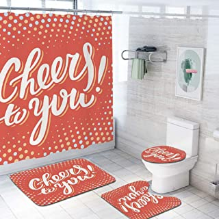 Graduation Decor 69x84 inch Shower Curtain Sets,Cheers to You Happy Message Text Polka Dots Retro Style Toilet Pad Cover Bath Mat Shower Curtain Set 4 pcs Set,Orange Light Yellow Baby Blue